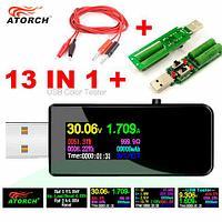 "Цифровой USB тестер-вольтамперметр 13-в-1 U96 с OLED дисплеем ATORCH (USB-тестер + 3А нагрузка + 2Х кабель ""Аллигатор"")"