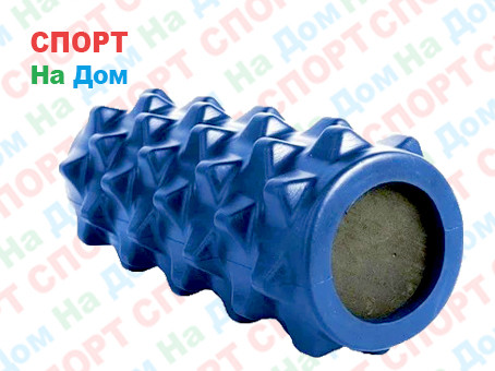 Массажный валик (ролик) для фитнеса и йоги 33 см (цвет синий)