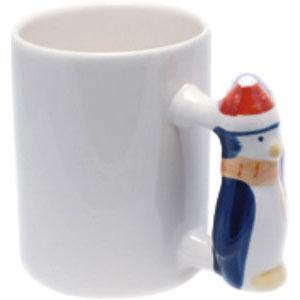 Кружка керамическая белая ручка с Пингвин