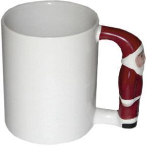 Кружка керамическая белая ручка Дед Мороз