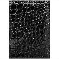 Обложка для паспорта OfficeSpace иск. кожа, черный, крокодил 240459