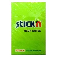 Бумага для заметок с клейким краем 51х76 100л. НЕОН зеленый Hopax # 21163