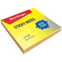 """Самоклеящийся блок Berlingo """"Ultra Sticky"""", 75*75мм, 100л, 4 неоновых цвета 39602"""
