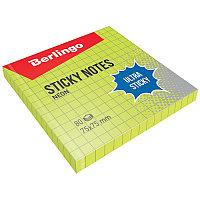 """Самоклеящийся блок Berlingo """"Ultra Sticky"""", 75*75мм, 80л, в клетку, зеленый неон 39701"""