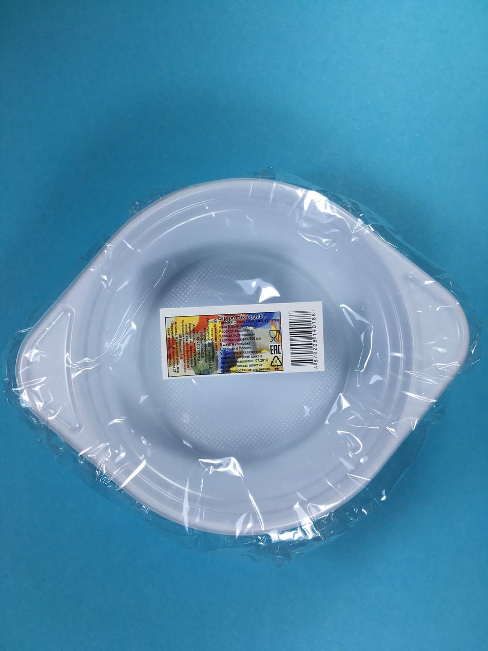 Тарелка одноразовая белая 500 мл (суповая) 5 шт/уп Sherdin