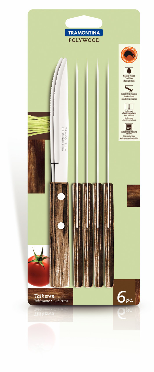"Нож столовый для стейка 4"" 102 мм 6шт/уп 21101/694 Polywood Tramontina"