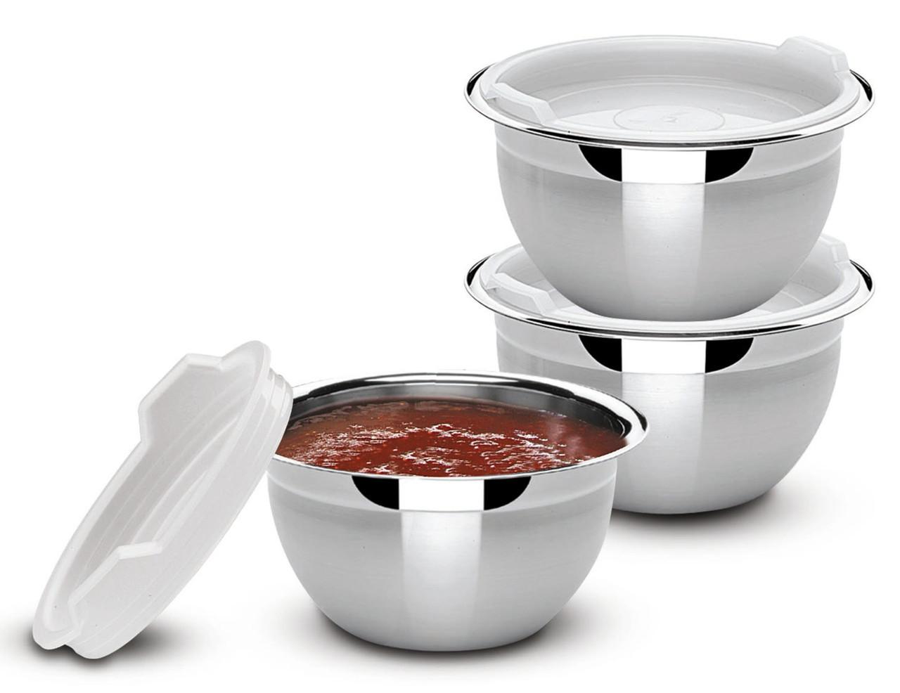 Набор емкости кухонные с крышкой стальные 3 предмета 9см 200мл Cucina Tramontina