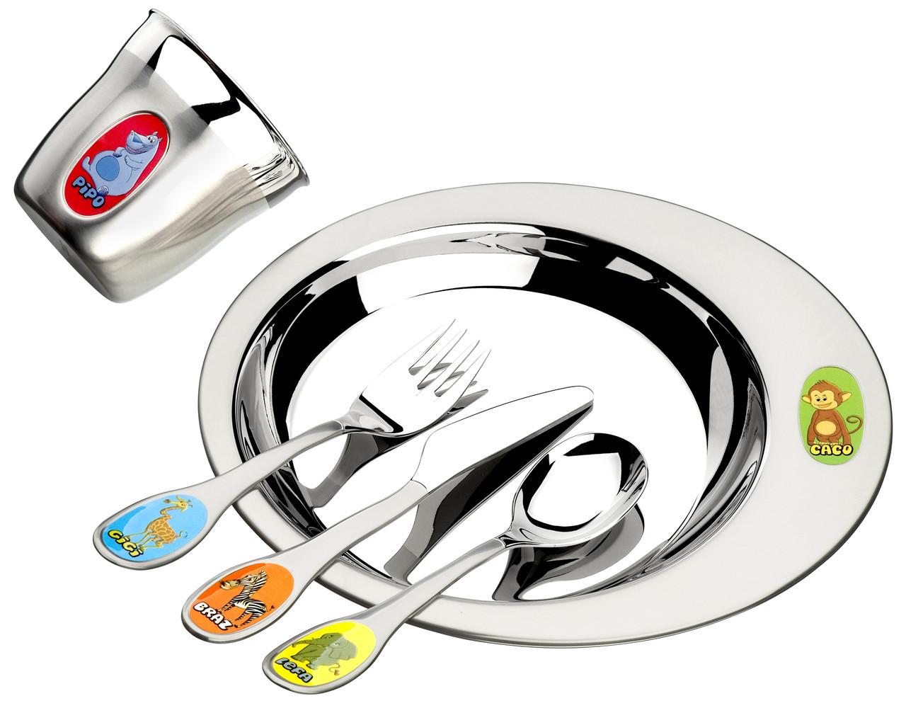 Набор детской посуды стальной 5 предметов  Zoo Tramontina