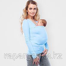 Слинг кенгуру майка с длинным рукавом голубая