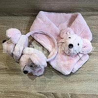 Комплект меховые наушники с тонким ободком и шарф Мышки светло-розовый