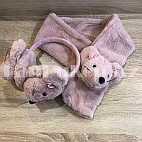 Комплект меховые наушники с тонким ободком и шарф Мышки темно-розовый