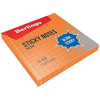 """Самоклеящийся блок Berlingo """"Ultra Sticky"""", 75*75мм, 80л, в клетку, оранжевый неон 39714"""