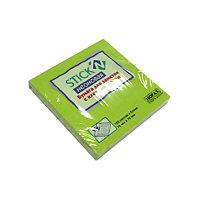 Бумага для заметок с клейким краем 76x76 100л. НЕОН зеленый Hopax # 21167