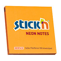 Бумага для заметок с клейким краем Hopax 76x76 100л. НЕОН.оранжевый # 21164