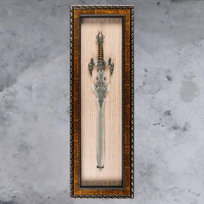 Изделие в раме, багет косичка, меч, 41*123см