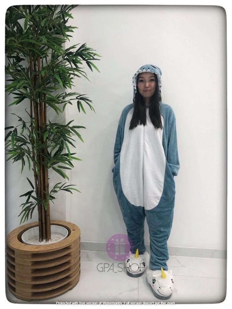 Пижама кигуруми акула серая