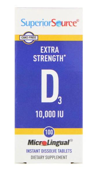 Superior Source, D3, дополнительная силы, микролингвальный, 10 000 МЕ, 100 таблеток