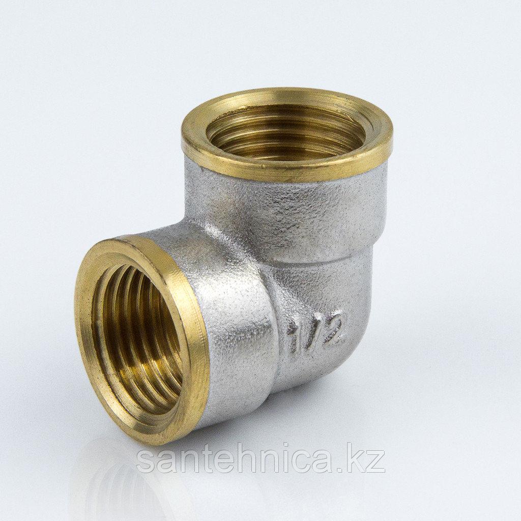 """Уголок латунь никель Ду 15 (1/2"""") внутр./внутр."""