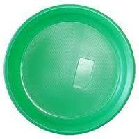 Пластиковая зеленая тарелка диаметр 165мм