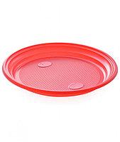 Пластиковая красная тарелка диаметр 165мм
