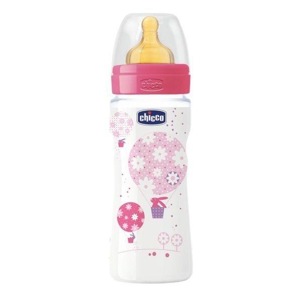 Chicco: Бутылочка Wellbeing для кормления латекс  330 ml для каш