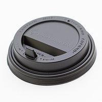 Крышка для стакана черная диаметр 90мм с клапаном