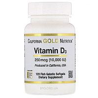 California Gold Nutrition, Витамин D3, Д3 10 000МЕ, 120 капсул.