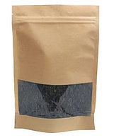 Пакет дой-пак бумажный крафт с прозрачным окошком 70 мм с замком зип-лок