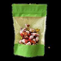 Пакет дой-пак бумажный зеленый с замком зип-лок 135*225+35мм