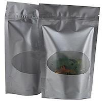 Пакет дой-пак металлизированный серебряный с окном и замком зип-лок 135*200+40мм