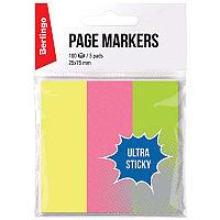 """Флажки-закладки Berlingo """"Ultra Sticky"""", 25*75мм, 100л*3 неоновых цвета, европодвес 41001"""