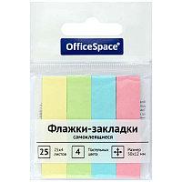 Флажки-закладки OfficeSpace, 50*12мм, 25л*4 пастельных цвета, европодвес 21801