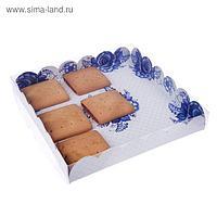 Коробка для кондитерских изделий с PVC крышкой «Расписная», 21 × 21 × 3 см