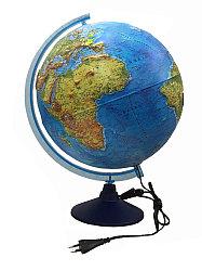 Глобус Физико-политический рельефный, с подсветкой от сети, 32 см