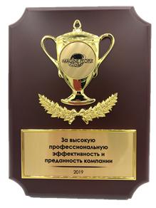 Наградная плакетка (15х20см) с металлическими накладками (гальваника)
