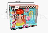 Детский набор стилиста кукла с прямыми рыжими волосами LK1017