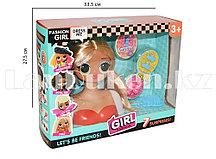 Детский набор стилиста кукла с прямыми светлыми волосами LK1017
