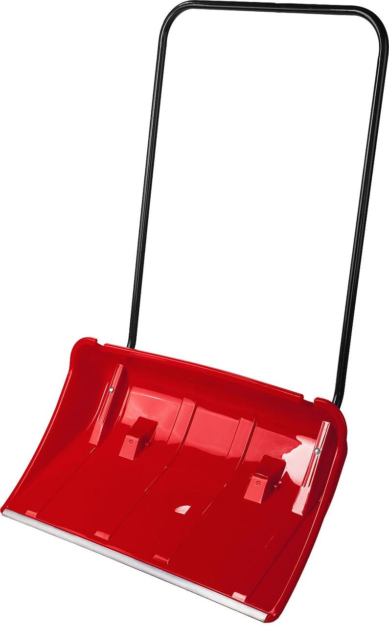 Скрепер, (движок снеговой), пластиковый ковш с алюминиевой планкой, с колесиками, 860 мм, ЗУБР Полюс