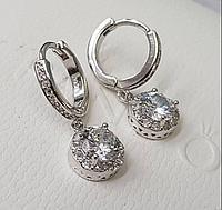 Шикарные Серьги, серебро с цирконами