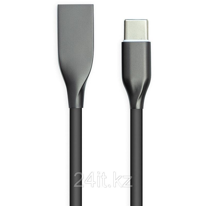 Кабель PowerPlant USB - Type-C, 1м, силикон, черный