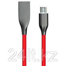 Кабель PowerPlant USB - microUSB, 1м, силикон, красный