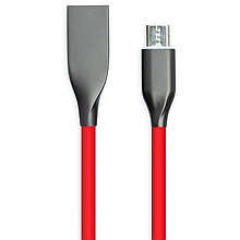 Кабель PowerPlant USB - microUSB, 2м, силикон, красный
