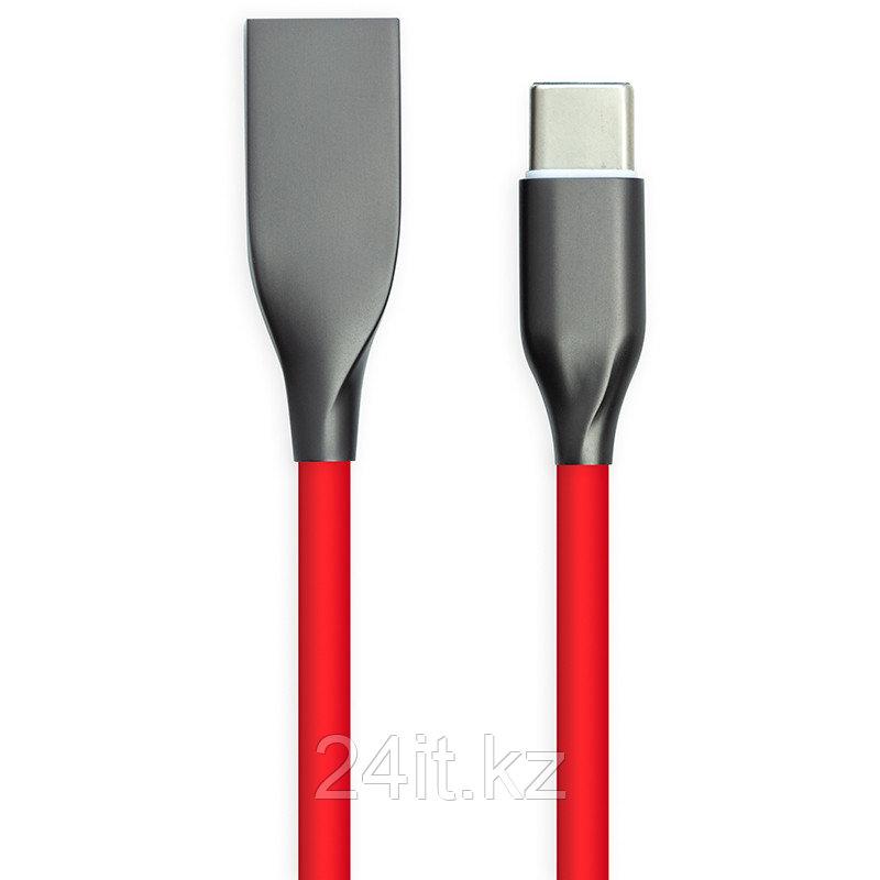 Кабель PowerPlant USB - Type-C, 2м, силикон, красный