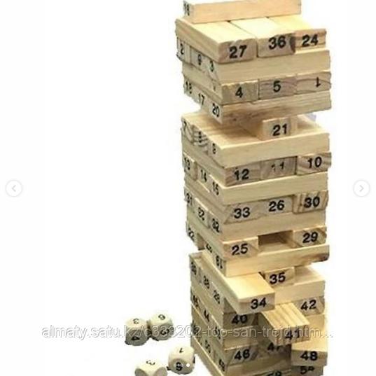 Настольная игра Jenga 54, с цифрами на брусках