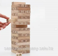 Настольная игра Jenga 54, с цифрами на брусках, фото 2