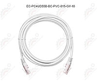 Шнур U/UTP 4 пары, Кат.5e, 2хRJ45/8P8C, T568B, медный, PVC, серый, 1,5м.