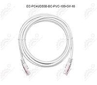 Шнур U/UTP 4 пары, Кат.5e, 2хRJ45/8P8C, T568B, медный, PVC, серый, 10м.