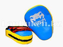 Лапы для бокса VENUM желто-голубые кожаные