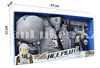 """Игровой набор пилота """"Ace Pilot"""" военный серый (пистолет, шлем, очки, жилетка и др)"""
