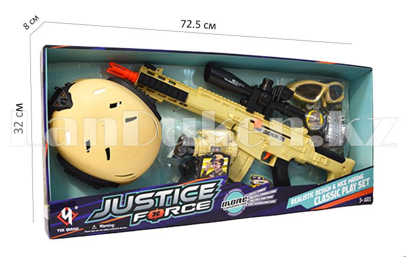 """Игровой набор военного """"Justice Force"""" песочный (автомат, шлем, очки и др) - фото 1"""